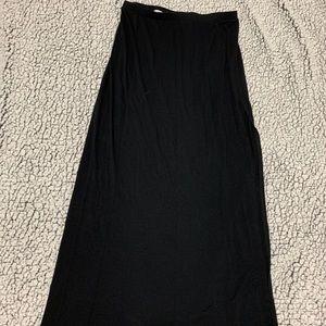 Black Knit Skirt with Slit